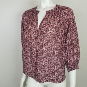 Madewell Silk Blend Stitched Peasant Plum Floral
